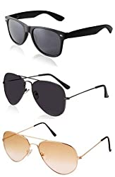 Magjons 2 Black - Lite Brown Aviator And 1 Wayfarer Sunglasses For Men Combo of 3
