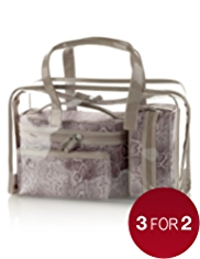 4 Piece Faux Snakeskin Print Cosmetic Bag Set