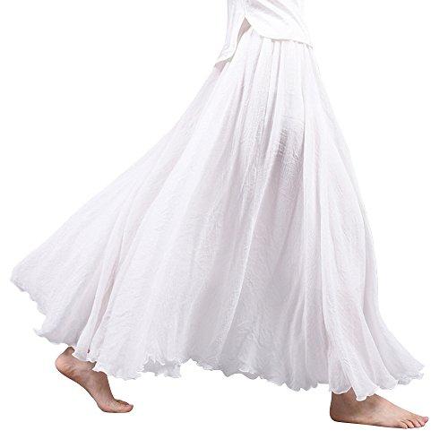 Women's Bohemian Style Elastic Waist Band Cotton Linen Long Maxi Skirt Dress White 90