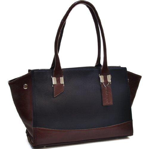 Dasein Convertible Two Tone Shoulder Bag - Black/Coffee