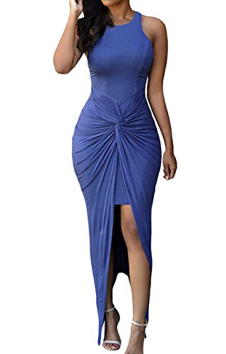 Sexy Womens Sleeveless Hig Low Knotted Slit Party Club Dress (L, Blue)