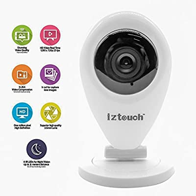 iZtouch IZSP-009A 1280x720P HD H.264 Wireless/Wired IP Camera with Two-Way Audio IR-Cut Filter Night Vision QR Code Scan Phone remote monitoring supported