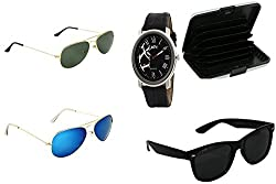 ATC Combo Three Sunglasses & Card Wallet & Black Analogue Wrist Watch for Men - CSSSB-03