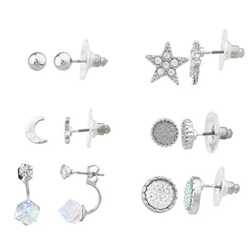 Lux Accessories Silver tone twinkle Star Multi Earring Set (6Pc) (Multi Gem Earring Sets compare prices)