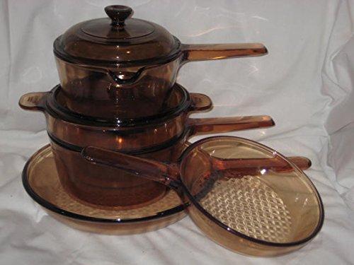 7 Piece Set - Vintage Corning Visions Visionware Amber Glass Sauce 1 Liter & 1.5 Liter Pans, 7 & 9 1/2 Inch Skillets & Double Boiler Set w/ 2 Lids (Vintage Double Boiler compare prices)