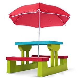 Ensemble de jardin pour enfant 2 bancs parasol table jeux et - Ensemble jardin enfant ...