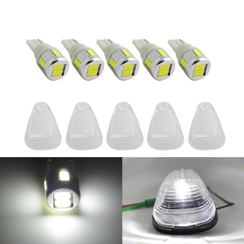 Partsam 5 Clear Cab Marker Clearance Light Lens Cover+T10 194 White High Power Led Bulb For 1999 2000 2001 2002 2003 2004 Ford F-350 Super Duty