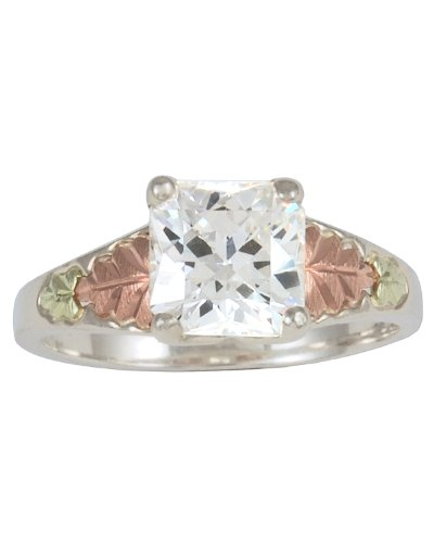 Womens Sterling Silver, 12k Green Gold, 12k Pink Gold White CZ Square Ring, Size 5.5