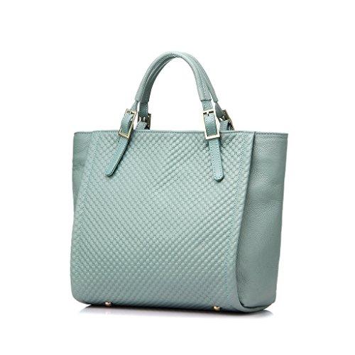 Realer Design in pelle Lady grande borsa capienza del sacchetto di spalla casuale genuino per le donne cielo blu