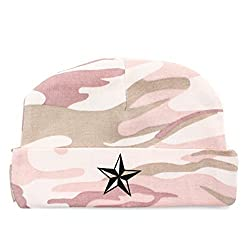 Crazy Baby Clothing Black Star Baby Beanie One Size in Color Pink Camo