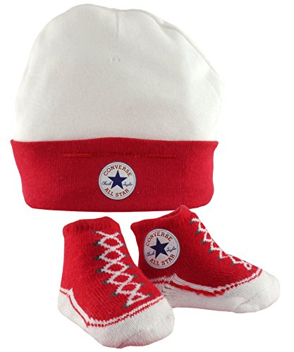 11599209 CNV008- TWIN SET HAT/BOOTIE RED/WHT PLU 121A Colour: RED/WHITE / Size: ONE SIZE /