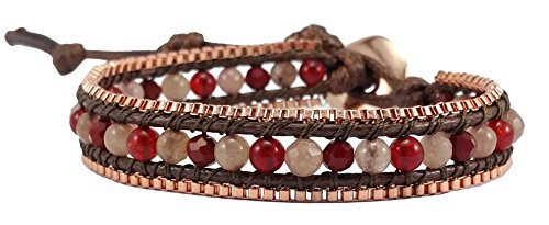 Red Coral & Rose Quartz & Crystal Leather …