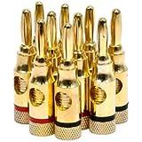 Monoprice 109437 High-Quality brass Speaker Banana Plugs - 5-Pair, Open Screw Type