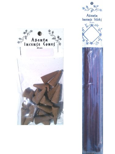 Dragon's Blood Incense Sticks and Cones Set of 2 Includes 1 Bag of 20 Azenta Dragon's Blood Incense Cones and 1 Pack of 20 Azenta Dragon's Blood Incense Sticks