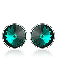 Mahi Rhodium Plated Bold Green Earrings Made With Swarovski Elements For Women ER1104084RGre
