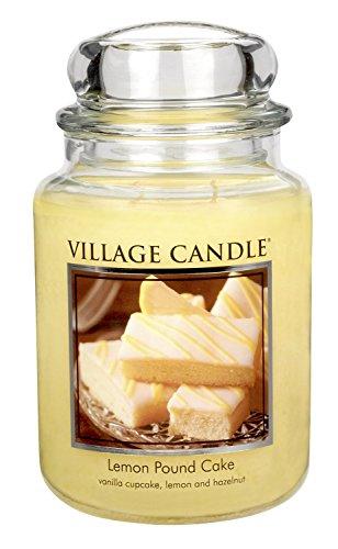 Village Candle Grande bougie parfumée au gâteau au citron 17 x 10 cm 1219g Jusqu'à 170 heures de combustion
