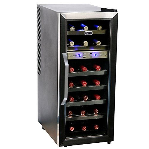 This Whynter Dual Temperature Zone freestanding wine cooler offers premium quality and sophisticated design. It allows for 21 bo