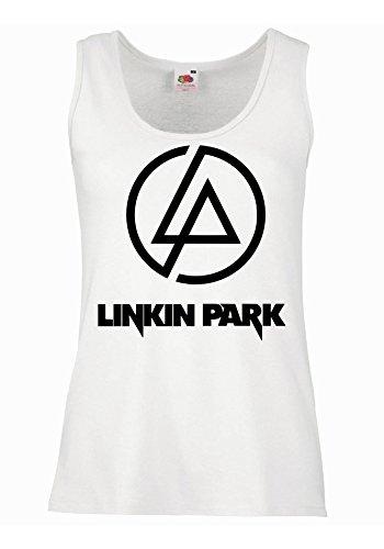"Canotta Donna ""Linkin Park - Logo"" - 100% cotone LaMAGLIERIA, XL, Bianco"