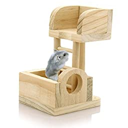 Pet Rat Hamster Mouse Wooden Lookout Tower Platform Exercise Toy