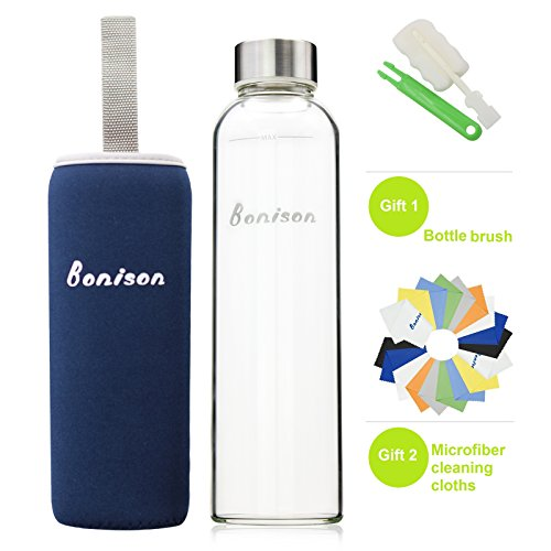 BONISON Stylish High-quality Environmental Borosilicate Glass Water Bottle with Colorful Nylon Sleeve (18oz) (BLUE) (Glass Drinking Water Bottles compare prices)