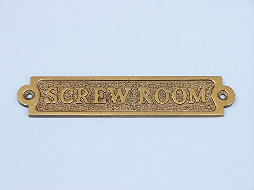Antique Brass Screw Room Sign - Decorative Vintage Sign - Brass Wall Sign