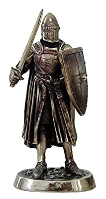 """Medieval Knight Of Crusader Sword And Shield Statue 7"""" Tall Figurine"""