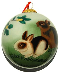 #!Cheap Hand Painted Glass Ornament, Rabbits CO-177