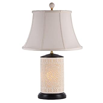 Cut White Porcelain Table Lamp With Night Light