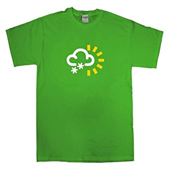 Mens Sun And Snow Weather T Shirt - Kelly Green - Small