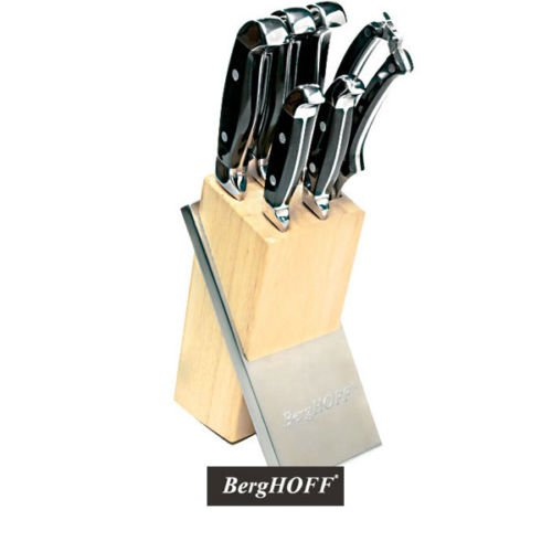 Berghoff Forged Steel Knife Block Set - 7 Piece Knives - Professional Cookware