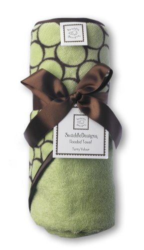 SwaddleDesigns Terry Velour Hooded Towel, Brown Mod Circles, Lime