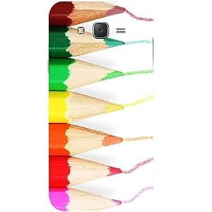 Casotec Pencil Colour Paint Design Hard Back Case Cover for Samsung Galaxy J2