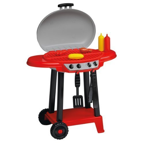 Toddlers Pretend Play Indoor/Outdoor BBQ Grill,Includes Tongs,Spatula,Ketchup,Mustard,Hot Dog,Corn and Chicken.Made In USA. by American Plastic by American Plastic