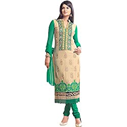 Shayona Women's Georgette Semi Stitched Dress Material_SSE9021SRK_Green_Free Size