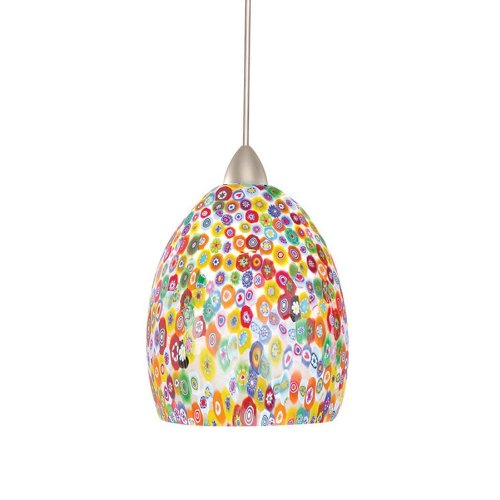Wac Lighting Mp-Led515-Mf/Bn Fiore 5W 12V 3500K Led Monopoint Pendant With Millefiore Shade And Brushed Nickel Finish