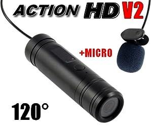 Caméra embarquée sport ACTION HD 720P Angle 120° + entrée microphone (mini caméra HD sportive, ultra compacte)