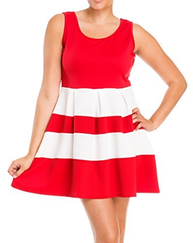 Evogues Plus Size Color Block Flare Mini Dress Red White - 1X