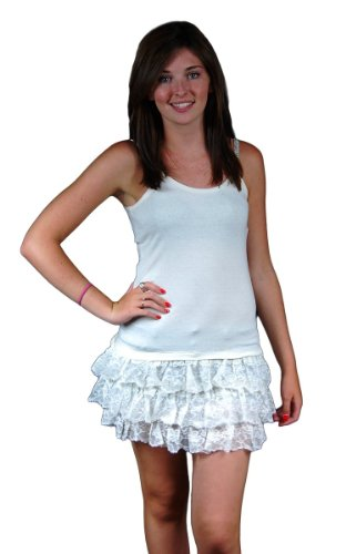 Ark Apparel Junior's Antique White Three Tired Lace Ruffled Tank Dress