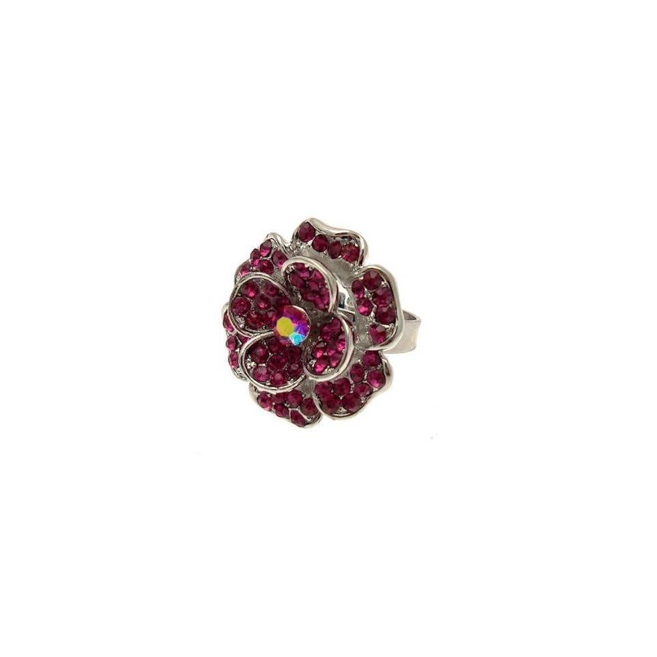 Acosta Jewellery   Fuchsia Pink Crystal   Adjustable Fashion Flower Ring