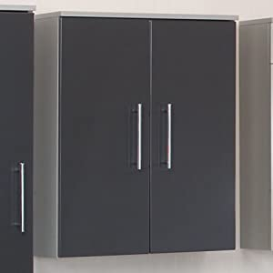 pharao24 pietro bathroom wall cabinet in high gloss charcoal grey