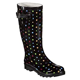 Original Black Rainy Day Boots For Women With Red Polka Dot Design