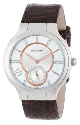 Philip Stein Women's 41-DMOPRG-OCH Round Diamond and Rose Gold Accent Dial Chocolate Ostrich Strap Dress Watch