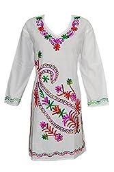 Indiatrendzs Women Kurti Cotton White Embroidered Cotton Long Tunic Chest: 44
