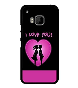 printtech I Love You Kiss Couple Back Case Cover for HTC One Hima