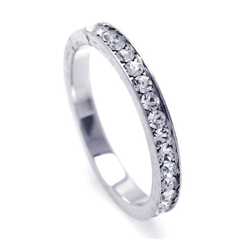 2.5mm Sterling Silver Channel Set Cubic Zirconia April Birthstone Diamond Simulant Eternity Ring Band (Sizes 3 to 9) - Size 3