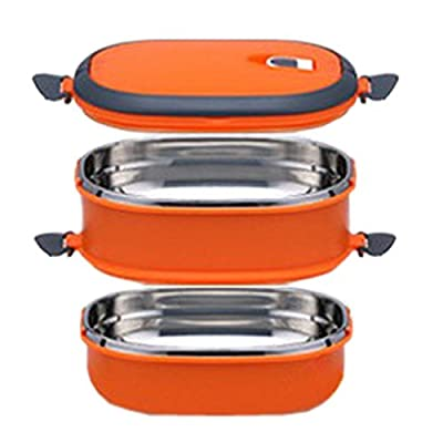COFFLED Double Layer Stainless Steel Bento Lunch Box,Premium Leak-proof Portable Food Storage Container,Perfect Super-easy-carrying Bento Box with Super High Quality for Students&Adults(Orange Color)