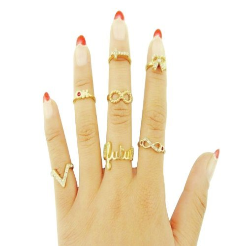 2014 Susenstore 5pcs/set Rings Urban Gold Stack Plain Cute Above Knuckle Ring Band Midi Ring