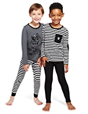 2 Pack Pure Cotton Monster & Striped Pyjamas