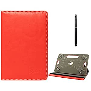DMG Protective Flip Book Cover Stand View Case for Iball 3g 7271hd70 (Red) + Capacitive Touch Screen Stylus