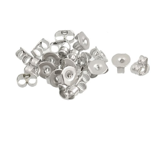 Rosallini 10 Pairs Silver Tone Alloy Plate Ear Nuts Earring Backs for Ladies
